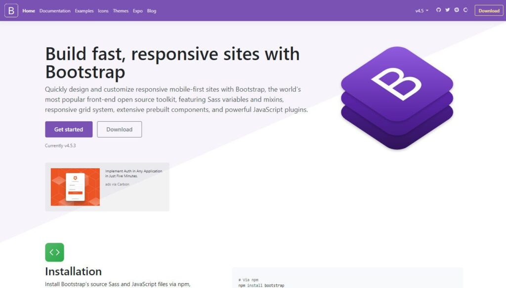 the Bootstrap website